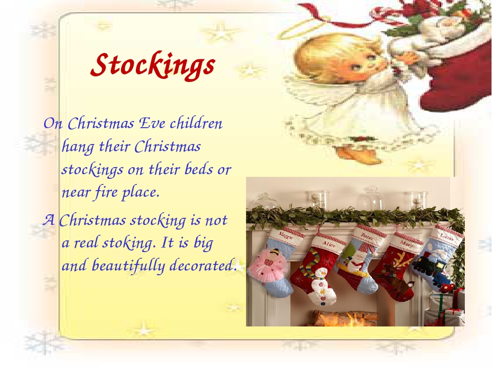 Stockings On Christmas Eve children hang their Christmas stockings on their b...