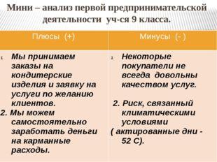 Мини – анализ первой предпринимательской деятельности уч-ся 9 класса. Плюсы(+