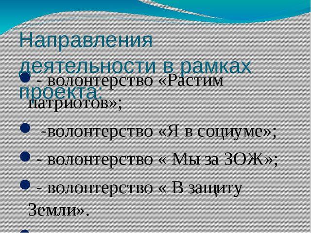 Направления деятельности в рамках проекта: - волонтерство «Растим патриотов»;...