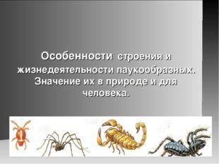 Особенности строения и жизнедеятельности паукообразных. Значение их в природе