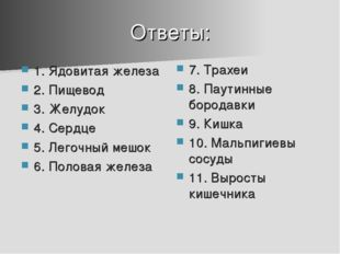 Ответы: 1. Ядовитая железа 2. Пищевод 3. Желудок 4. Сердце 5. Легочный мешок