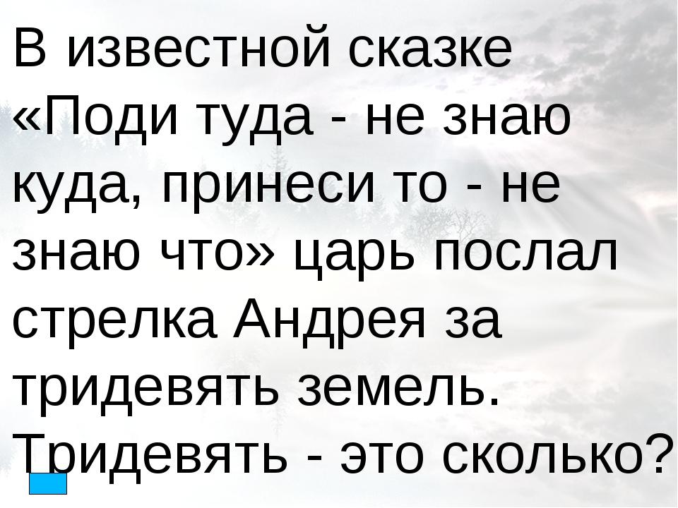 В известной сказке «Поди туда - не знаю куда, принеси то - не знаю что» царь...