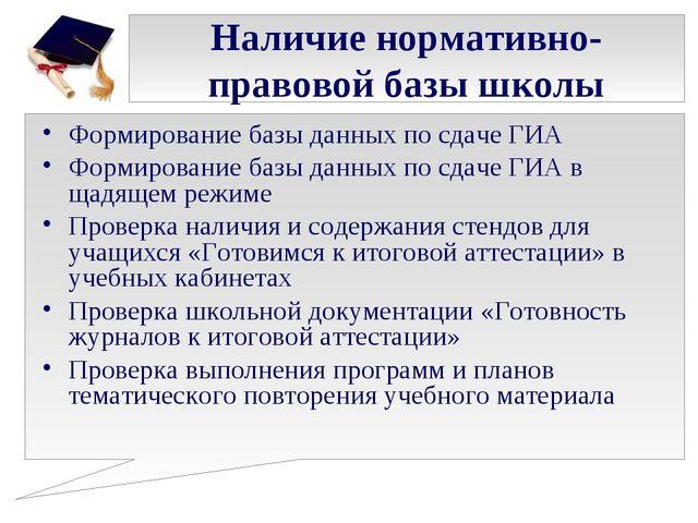 Наличие нормативно-правовой базы школы Формирование базы данных по сдаче ГИА...