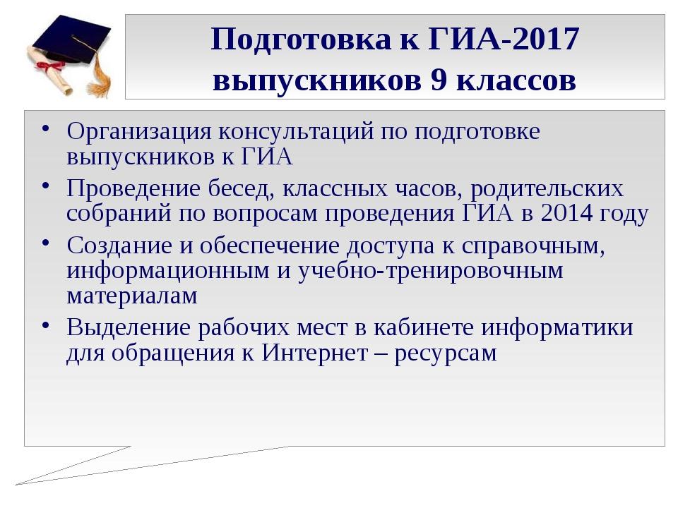 Подготовка к ГИА-2017 выпускников 9 классов Организация консультаций по подго...