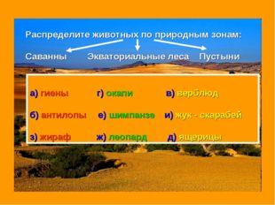Распределите животных по природным зонам: Саванны Экваториальные леса Пустыни