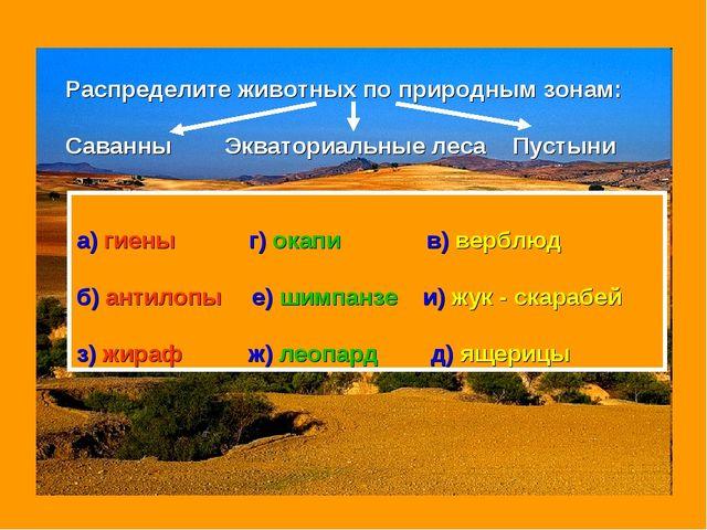 Распределите животных по природным зонам: Саванны Экваториальные леса Пустыни...