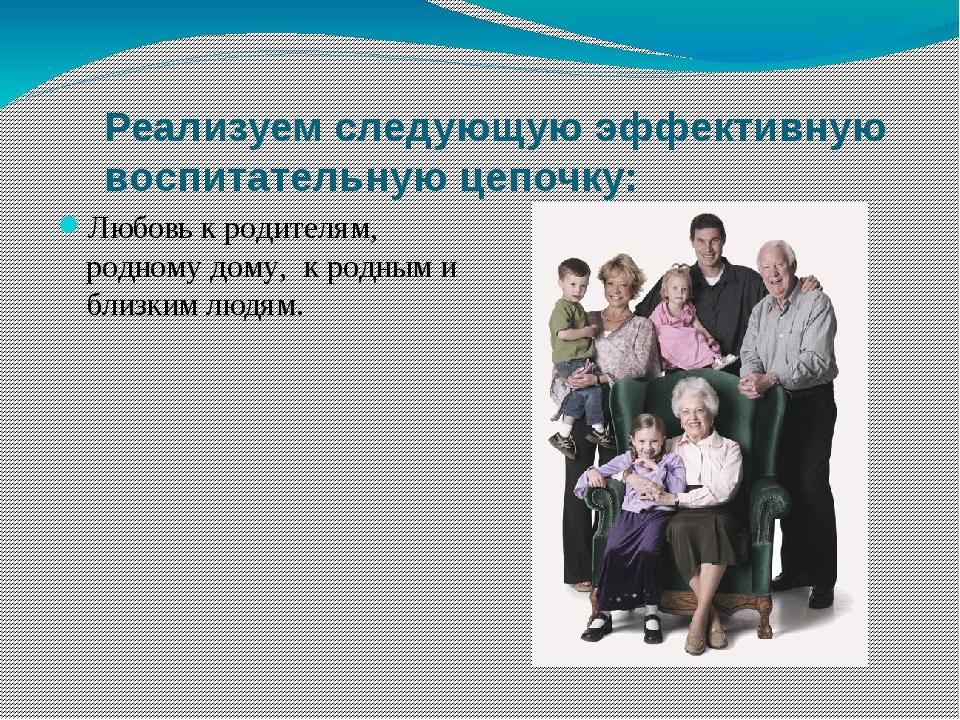 Реализуем следующую эффективную воспитательную цепочку: Любовь к родителям, р...