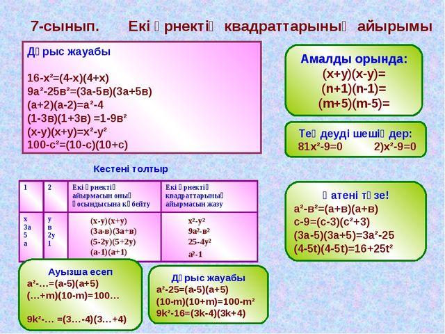 7-сынып. Екі өрнектің квадраттарының айырымы Математикалық диктант 1. 16 мен...