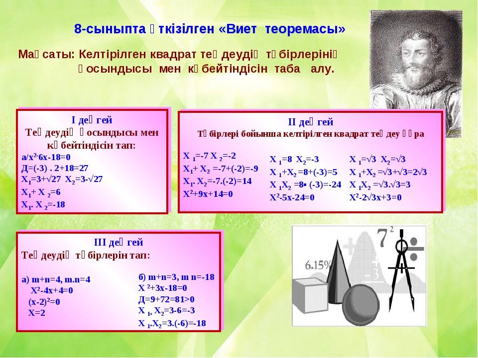 8-сыныпта өткізілген «Виет теоремасы» Мақсаты: Келтірілген квадрат теңдеудің...