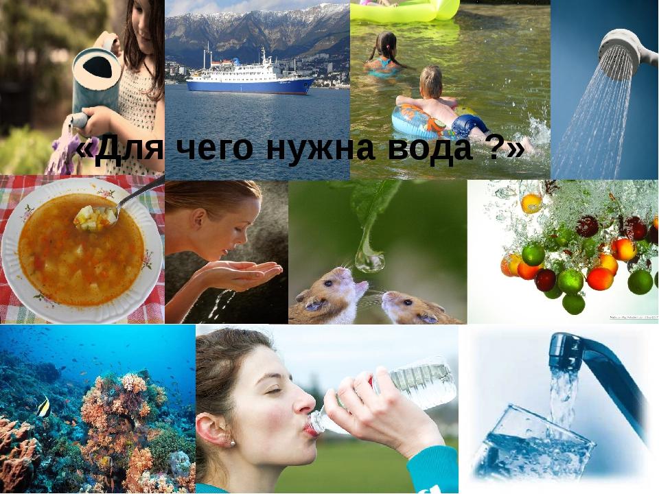«Для чего нужна вода ?» Давайте скажем, для чего именно человеку нужна вода?...