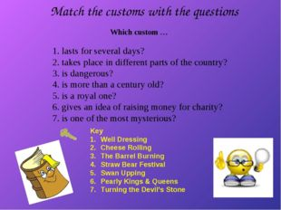 Match the customs with the questions 1. lasts for several days? 2. takes plac