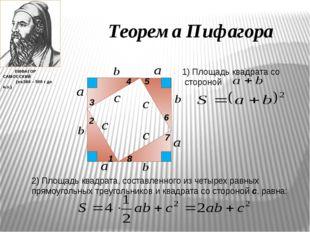 Теорема Пифагора 1 2 3 4 5 6 7 8 1) Площадь квадрата со стороной 2) Площадь к