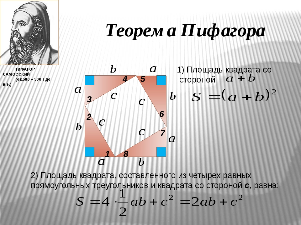 Теорема Пифагора 1 2 3 4 5 6 7 8 1) Площадь квадрата со стороной 2) Площадь к...