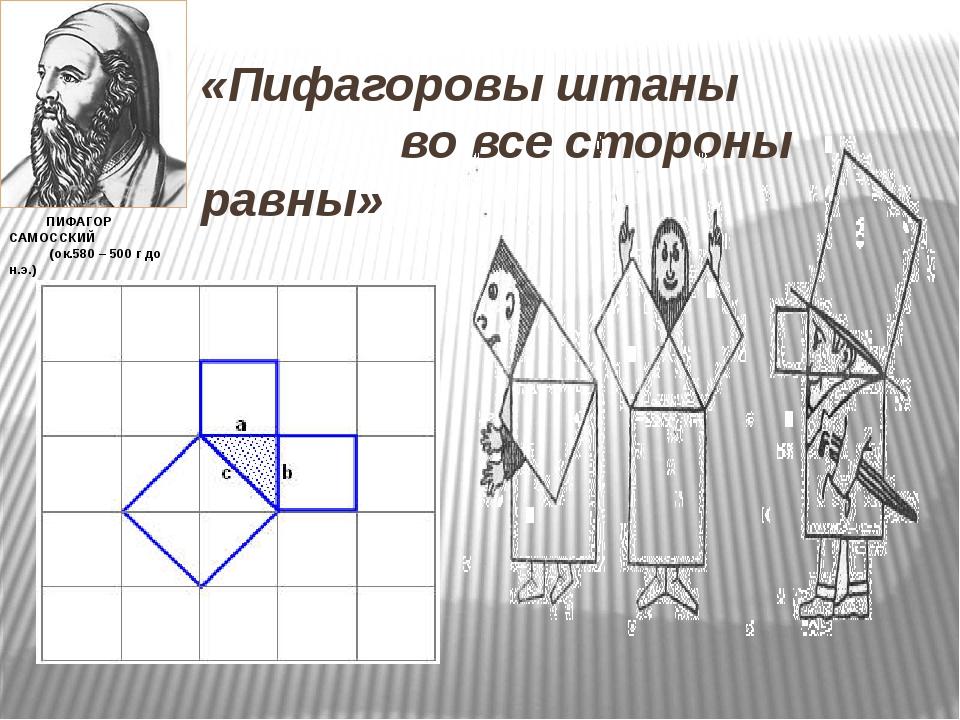 «Пифагоровы штаны во все стороны равны» ПИФАГОР САМОССКИЙ (ок.580 – 500 г до...