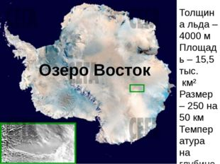 Озеро Восток Толщина льда – 4000 м Площадь – 15,5 тыс. км² Размер – 250 на 5