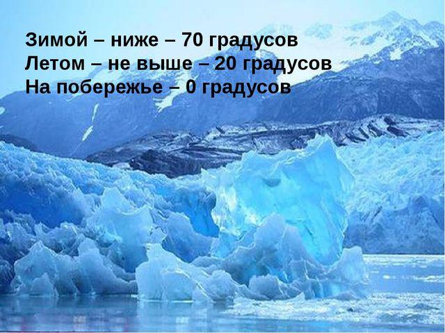 Зимой – ниже – 70 градусов Летом – не выше – 20 градусов На побережье – 0 гра...