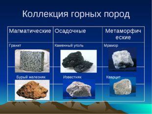 Коллекция горных пород Бурый железняк Известняк Кварцит МагматическиеОсадочн