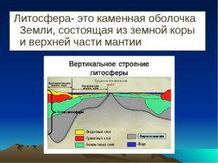 Литосфера- это каменная оболочка Земли, состоящая из земной коры и верхней ч