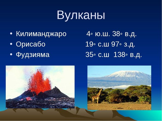 Вулканы Килиманджаро 4◦ ю.ш. 38◦ в.д. Орисабо 19◦ с.ш 97◦ з.д. Фудзияма 35◦ с...