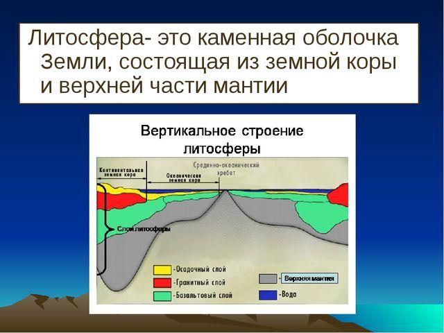 Литосфера- это каменная оболочка Земли, состоящая из земной коры и верхней ч...