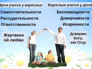Дети учатся у взрослых Взрослые учатся у детей Жертвенной любви Доверию Богу,