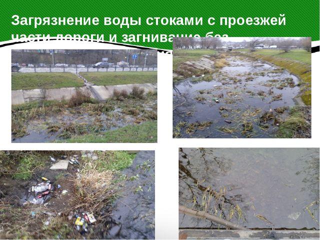 Загрязнение воды стоками с проезжей части дороги и загнивание без естественно...