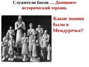 Служители Богов … Допишите исторический термин. Какие знания были в Междуречье?