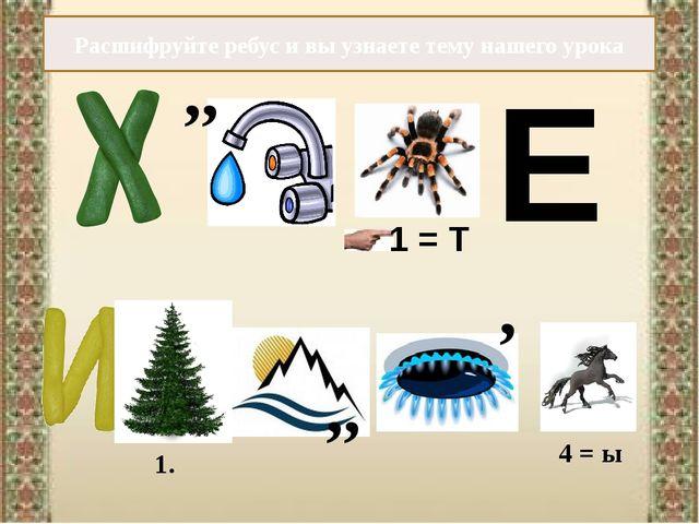 Расшифруйте ребус и вы узнаете тему нашего урока ,, 1 = Т Е ,, , 4 = ы 1.