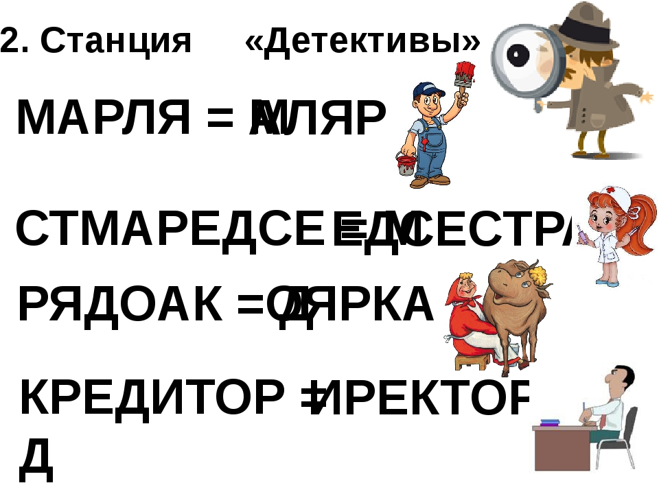 2. Станция «Детективы» МАРЛЯ = М АЛЯР СТМАРЕДСЕ = М ЕДСЕСТРА РЯДОАК = Д ОЯРКА...