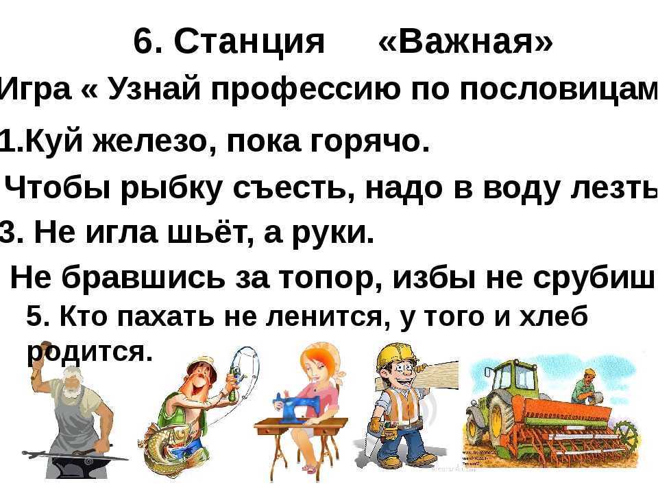6. Станция «Важная» Игра « Узнай профессию по пословицам» 1.Куй железо, пока...