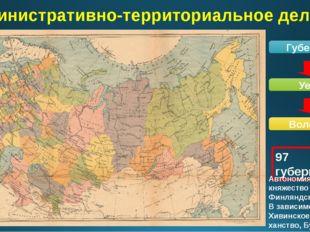 Административно-территориальное деление Губерния Уезд Волость 97 губерний Авт