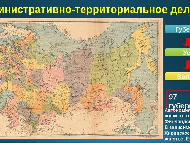 Административно-территориальное деление Губерния Уезд Волость 97 губерний Авт...