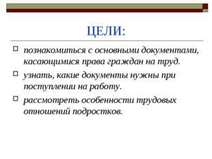 ЦЕЛИ: познакомиться с основными документами, касающимися права граждан на тру