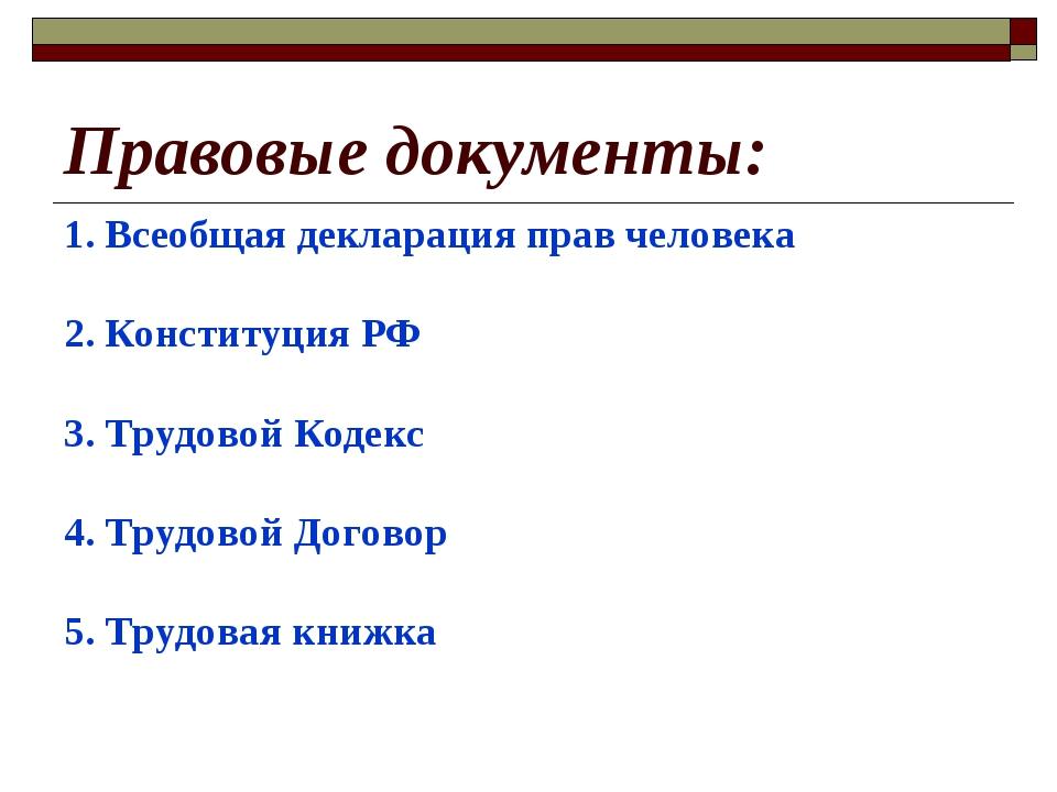 Правовые документы: 1. Всеобщая декларация прав человека 2. Конституция РФ 3....