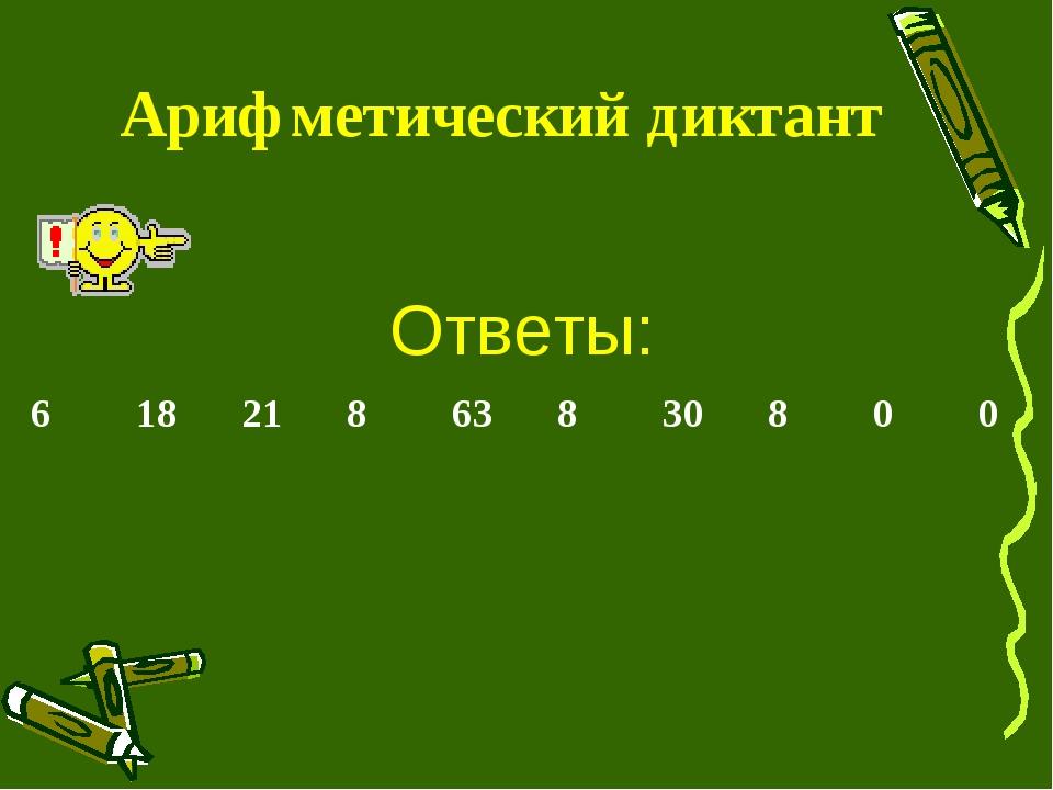 Арифметический диктант Ответы: 61821863830800