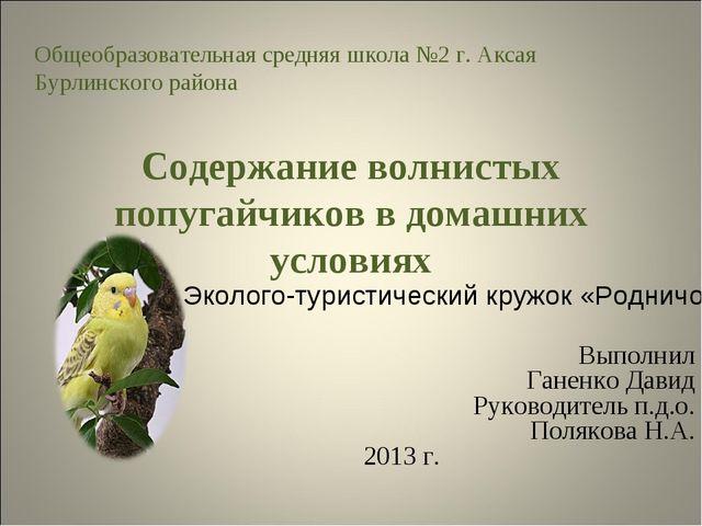 Содержание волнистых попугайчиков в домашних условиях Выполнил Ганенко Давид...