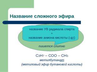 Название сложного эфира название УВ радикала спирта + название аниона кислоты