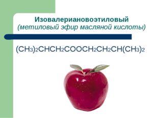 Изовалериановоэтиловый (метиловый эфир масляной кислоты) (СН3)2СНСН2СООСН2СН2