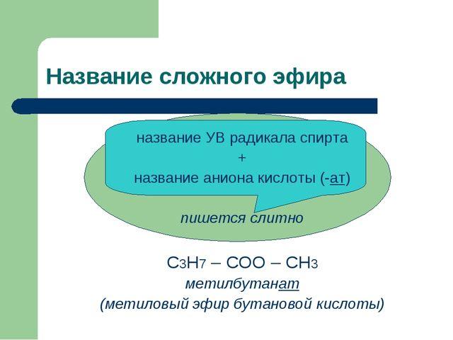 Название сложного эфира название УВ радикала спирта + название аниона кислоты...