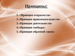 Принципы: 1. «Принцип открытости» 2.«Принцип привлекательности» 3.«Принцип де