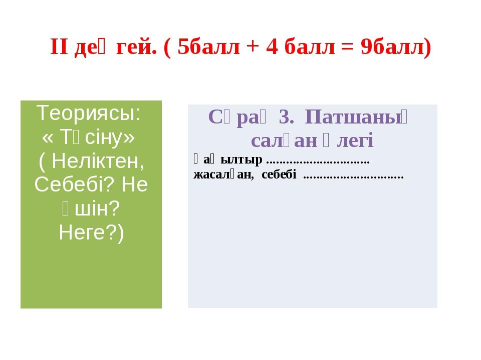II деңгей. ( 5балл + 4 балл = 9балл) Теориясы: « Түсіну» ( Неліктен, Себебі?...