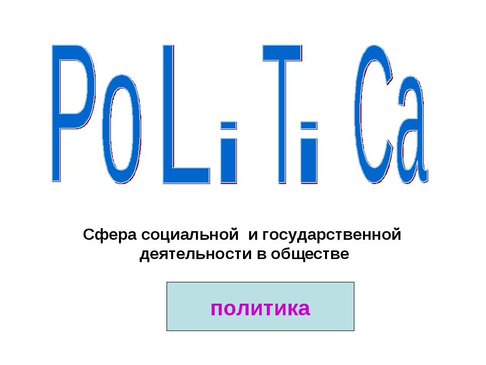 Сфера социальной и государственной деятельности в обществе политика