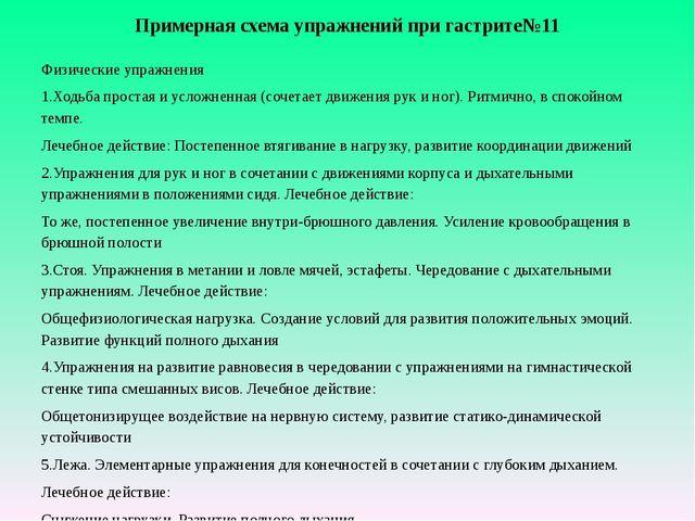 Примерная схема упражнений при гастрите№11 Физические упражнения 1.Ходьба пр...