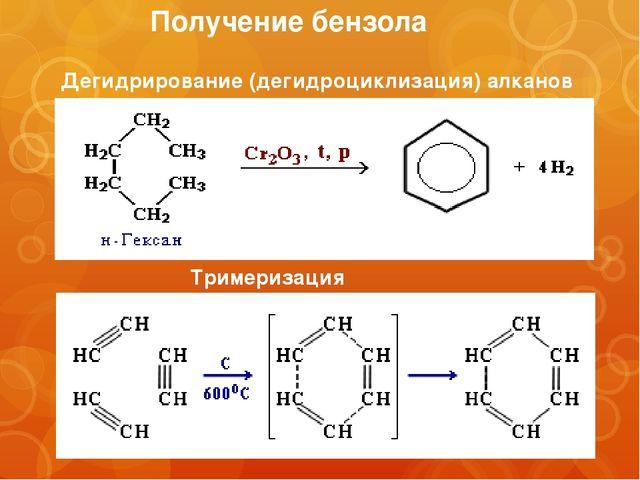 Получение бензола Тримеризация ацетилена Дегидрирование (дегидроциклизация) а...