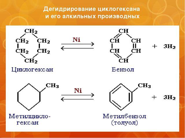 Дегидрирование циклогексана и его алкильных производных