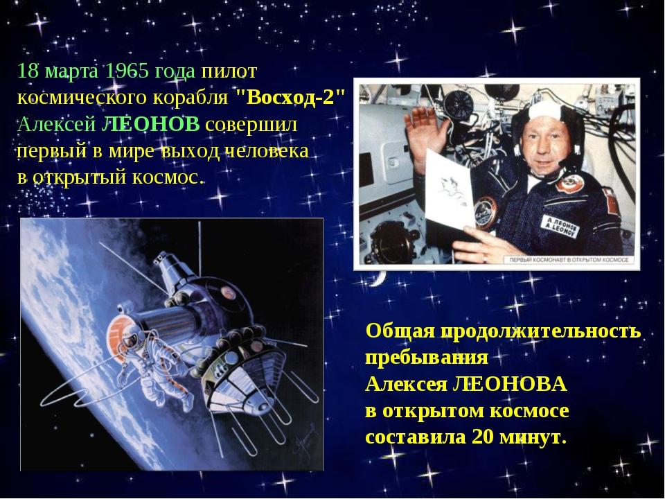 """18 марта 1965 года пилот космического корабля """"Восход-2"""" Алексей ЛЕОНОВ совер..."""