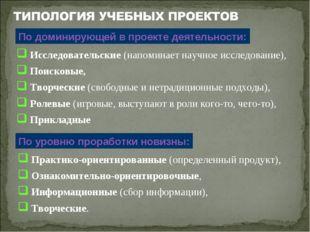 Исследовательские (напоминает научное исследование), Поисковые, Творческие (
