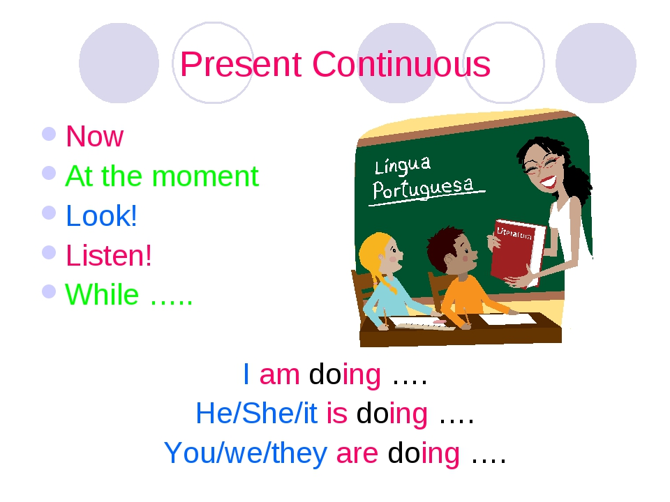 Present Continuous Now At the moment Look! Listen! While ….. I am doing …. He...