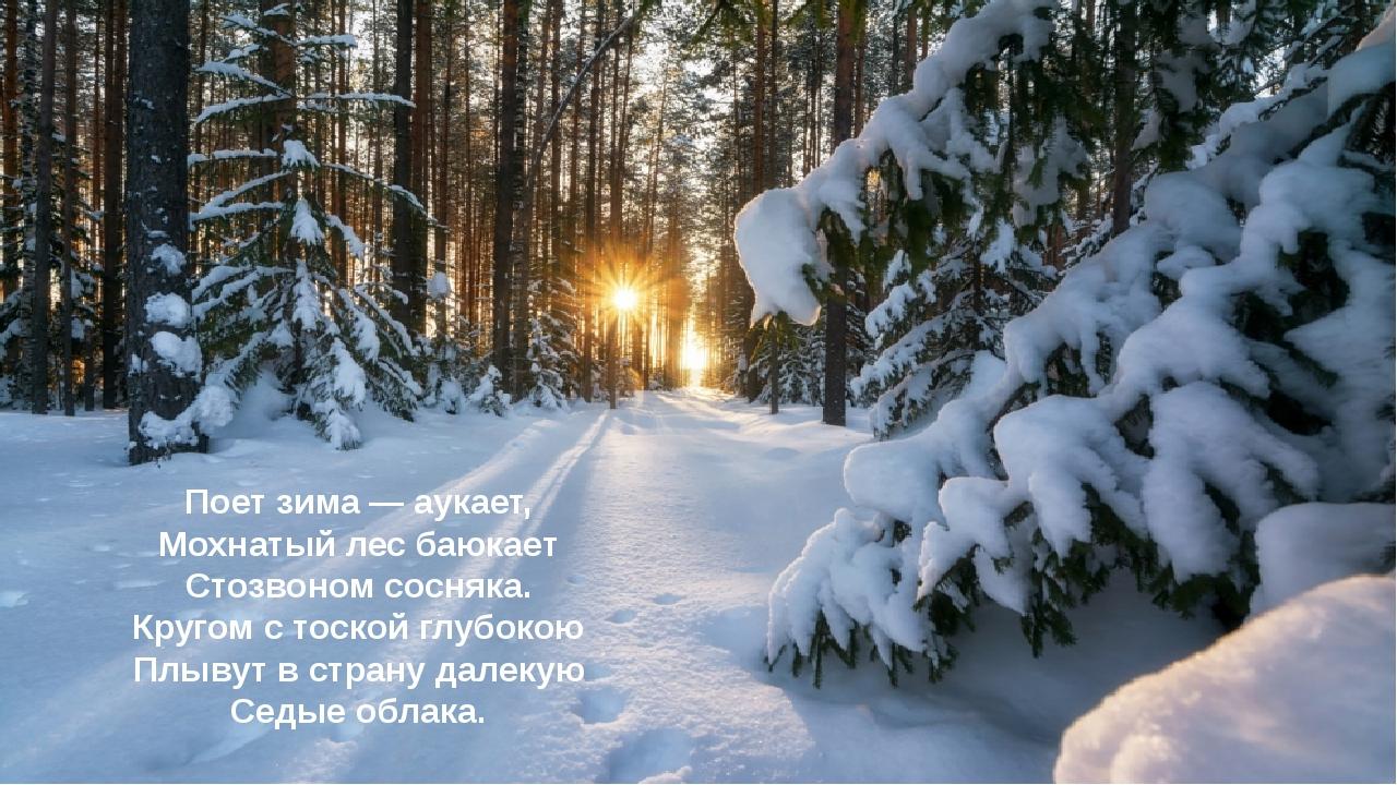 Поет зима — аукает, Мохнатый лес баюкает Стозвоном сосняка. Кругом с тоской г...