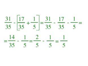 31 35 - 17 35 + 1 5 = 31 35 - 17 35 - 1 5 = = 14 35 - 1 5 = 2 5 - 1 5 = 1 5